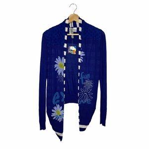 NWT Desigual Blue and White Daisy Cardigan Sweater